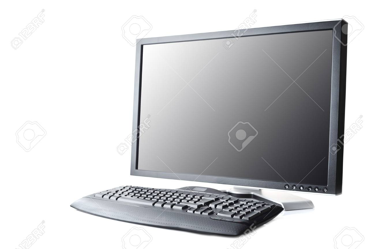 black monitor and keyboard on white background Stock Photo - 5992068