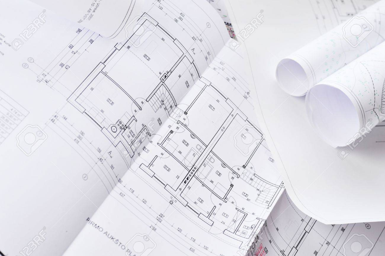 heap of design and project drawings on  table  background. Stock Photo - 6412275