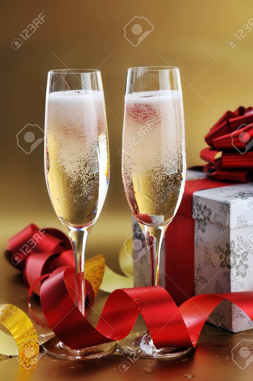two shampagne glasses on celebratory table Stock Photo - 7936289