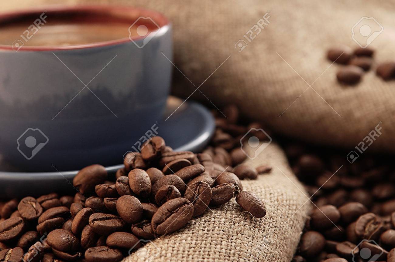 coffee beans cup with coffee old bag and sugar Stock Photo - 8282793