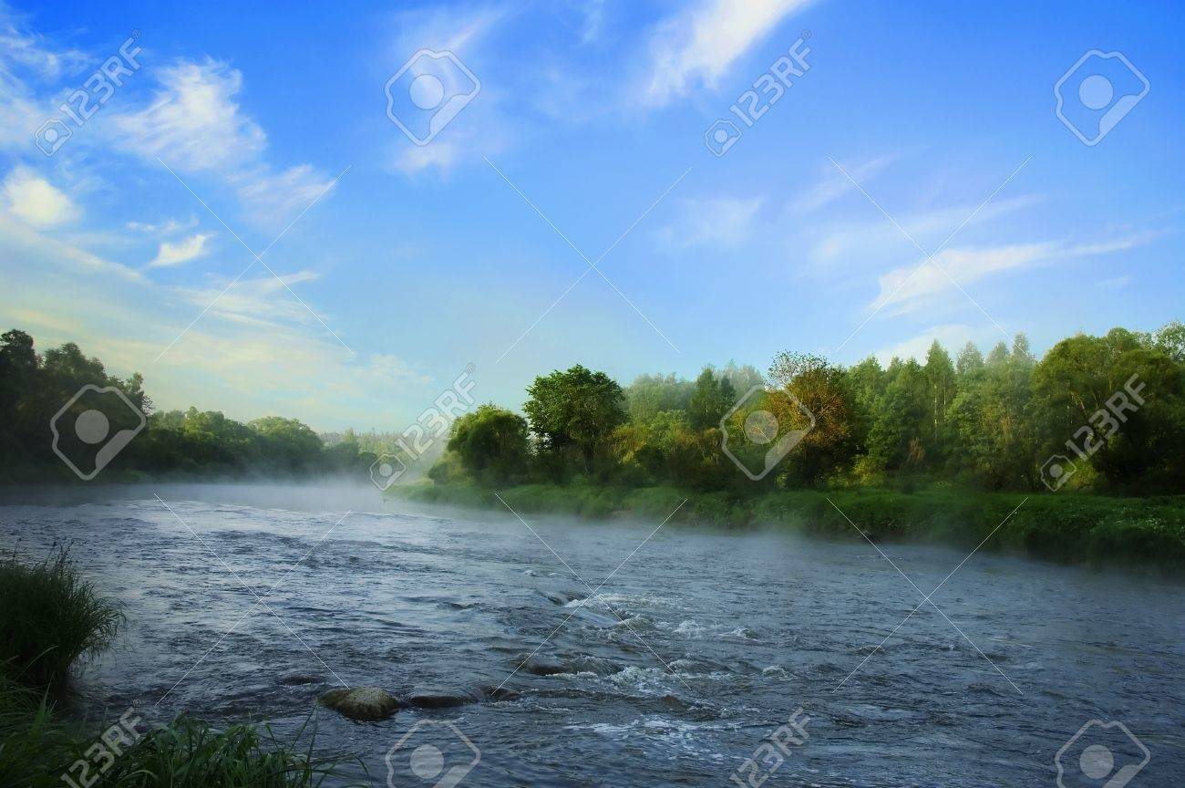 early morning on  bank of the river Stock Photo - 8371924