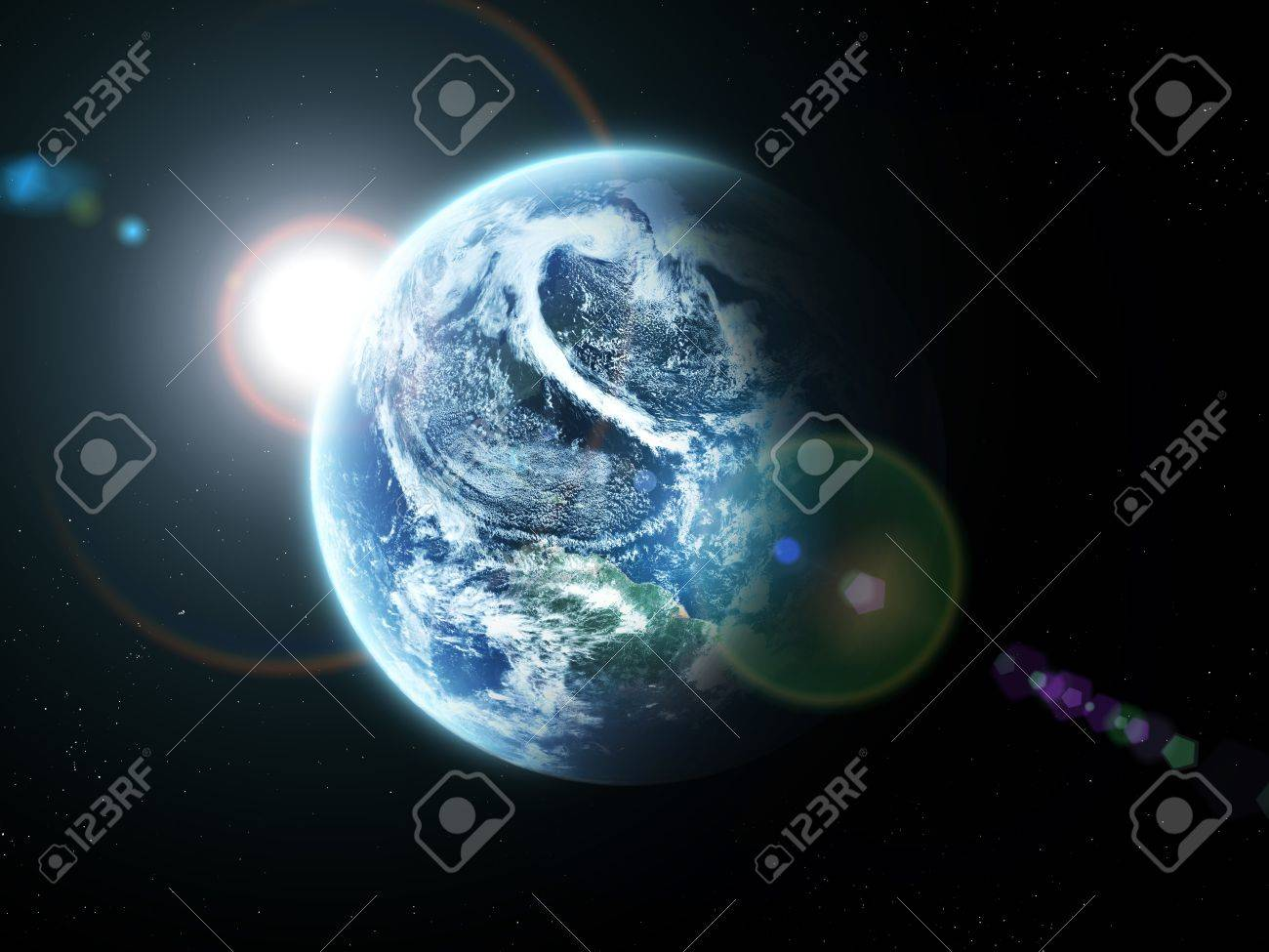 blue  planet earth  in space. Stock Photo - 8654025