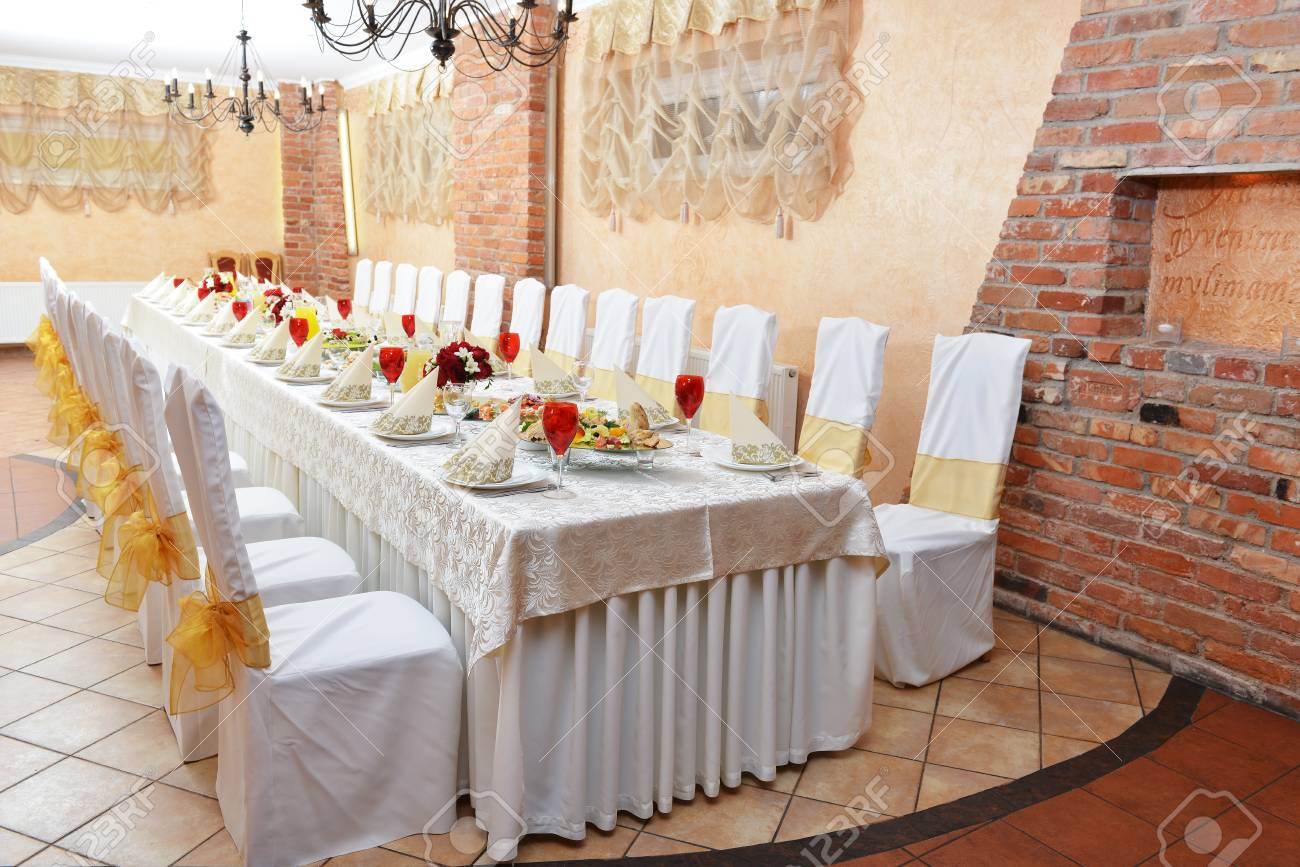 Stock Photo - Wedding reception. tableware and food waiting for guests & Wedding Reception. Tableware And Food Waiting For Guests Stock Photo ...