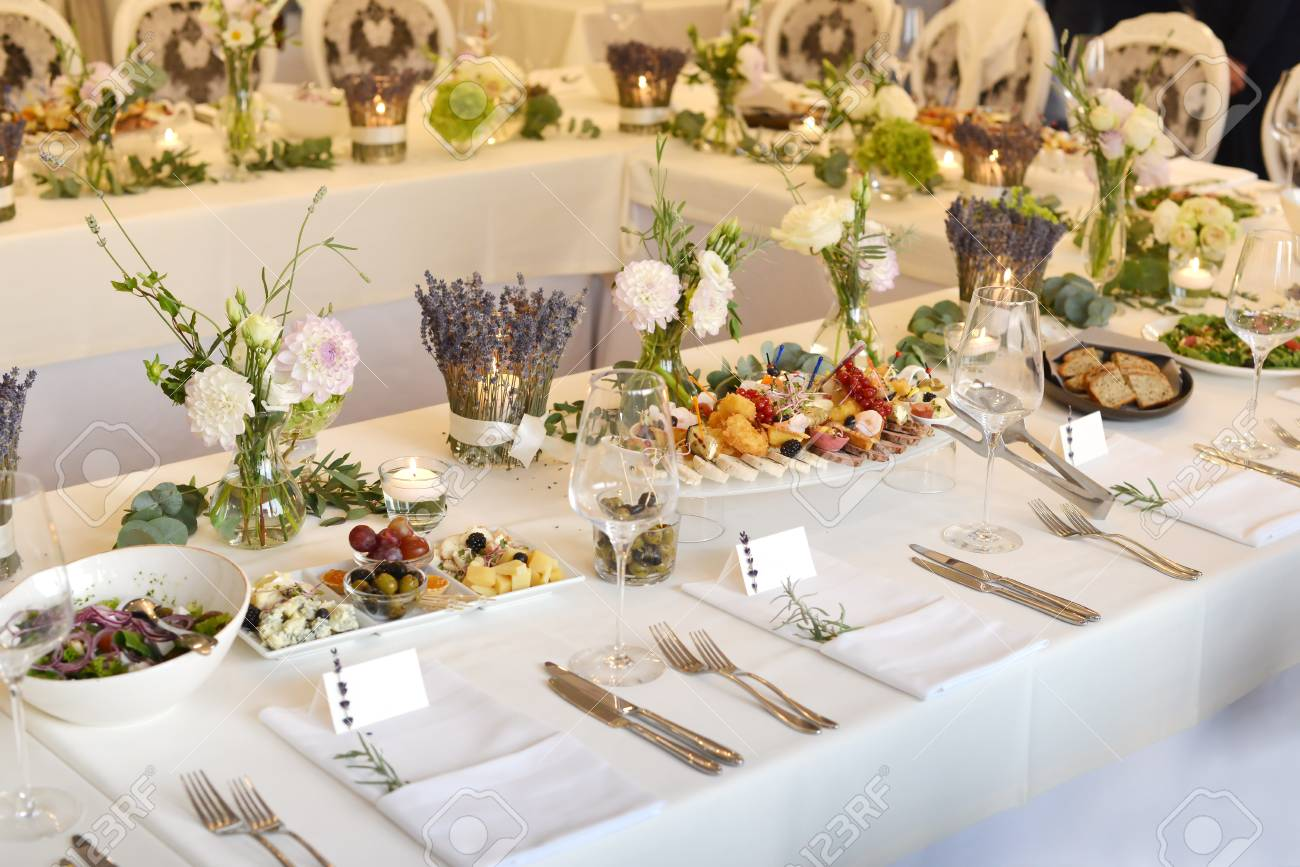 Wedding Reception Place Ready For Guests Table With Food And
