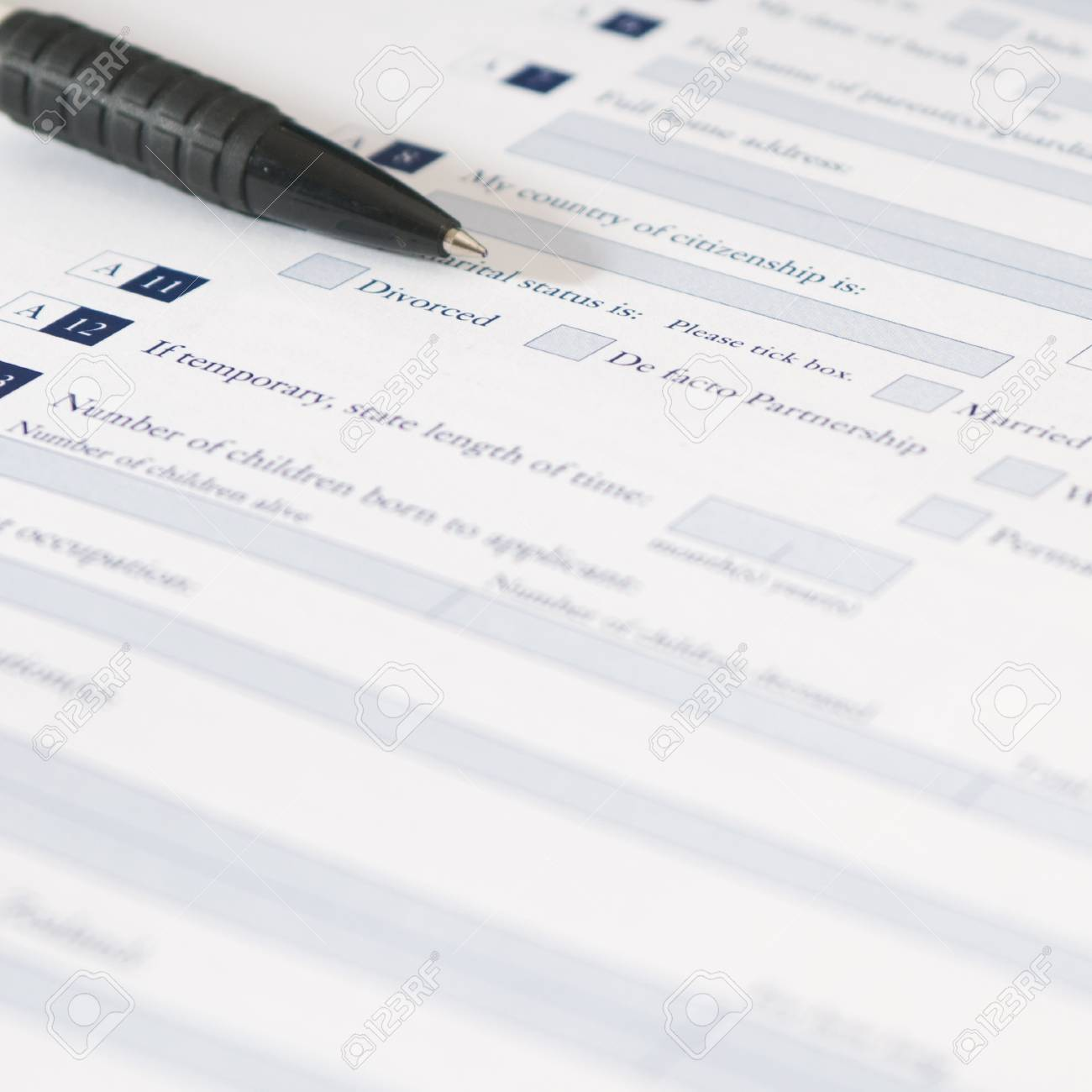 pen and application form of marital status that requires to fill pen and application form of marital status that requires to fill out his required information