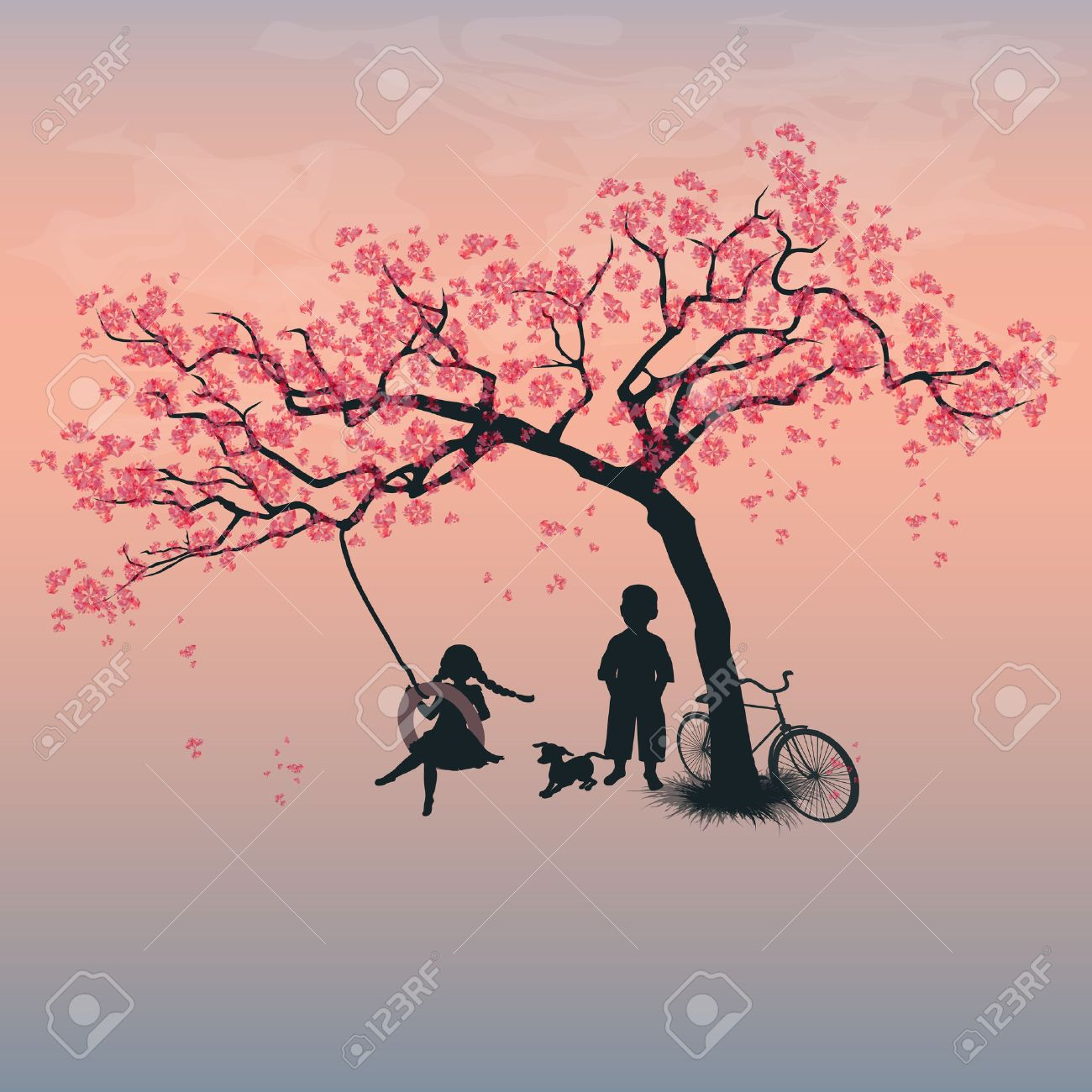 Children playing on a tire swing. Boy, girl and dog under the tree. Springtime. Cherry blossoms - 46107295