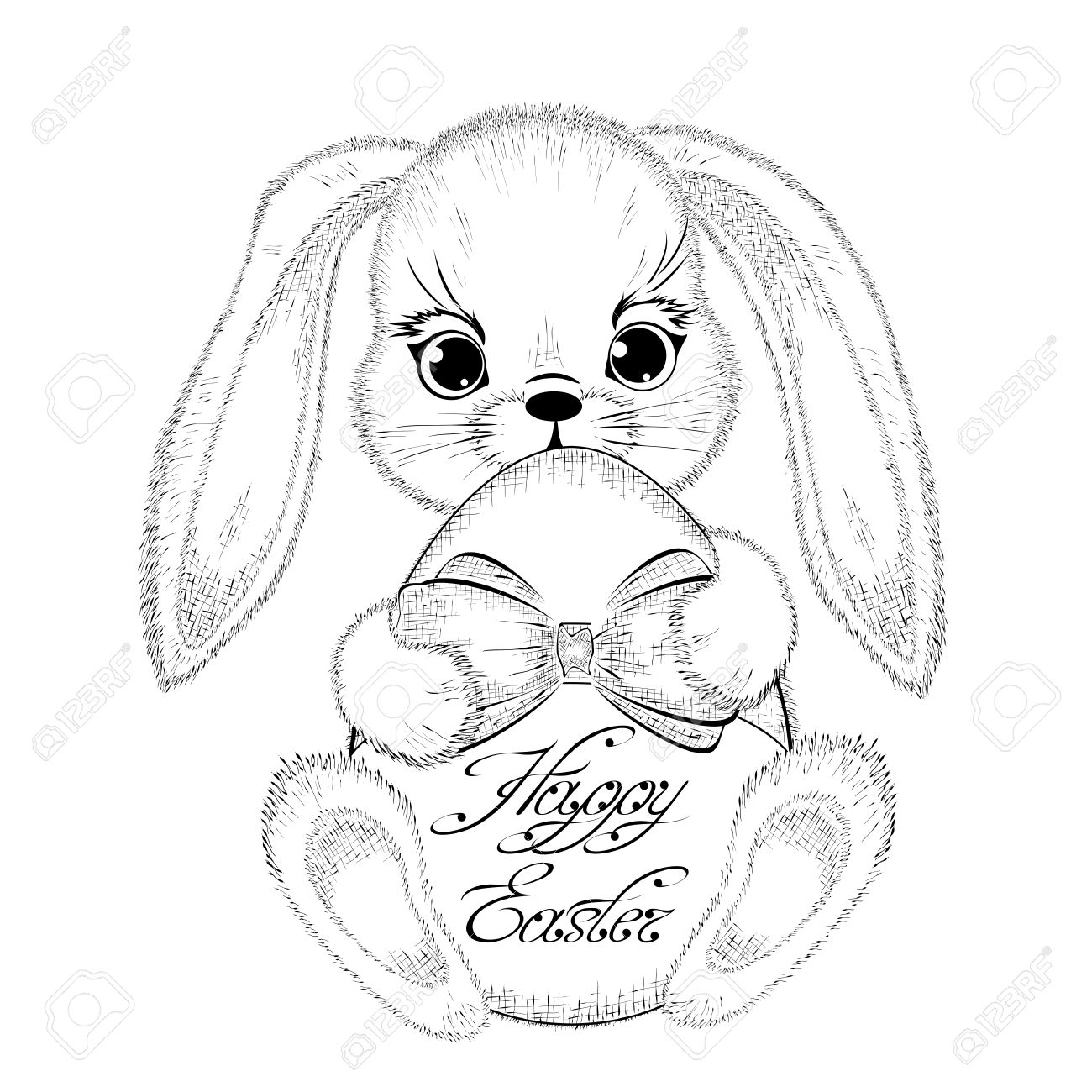 Hand drawn easter rabbit with paschal egg detailed sketch of bunny isolated on white background