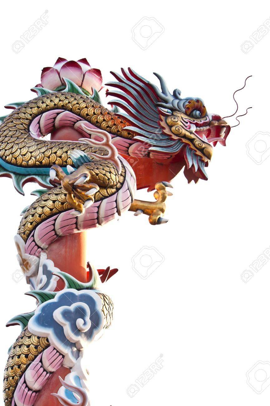 Statue de dragon sur fond blanc Banque d'images - 10644596