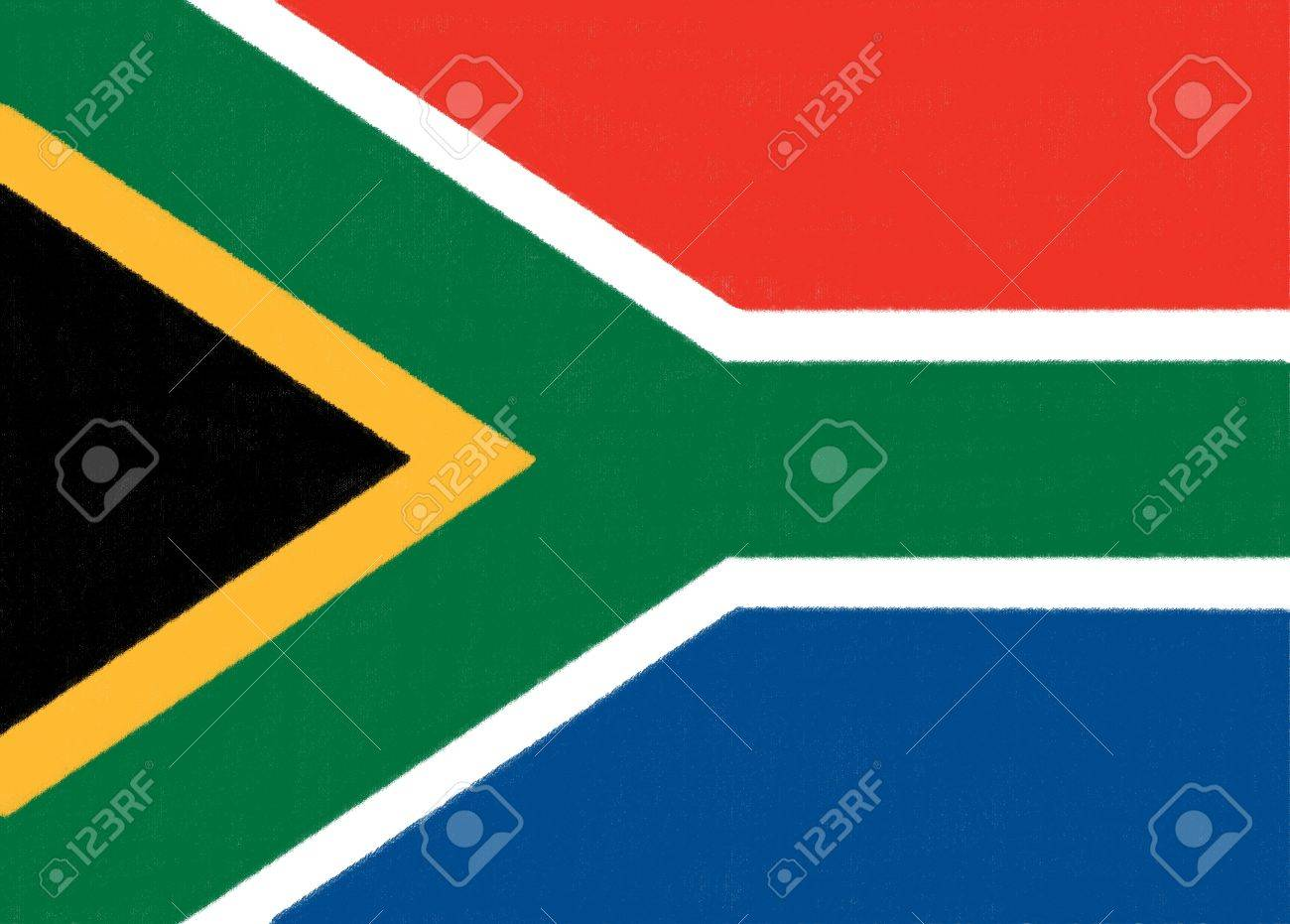 South Africa flag drawing by pastel on charcoal paper Stock Photo - 12100651
