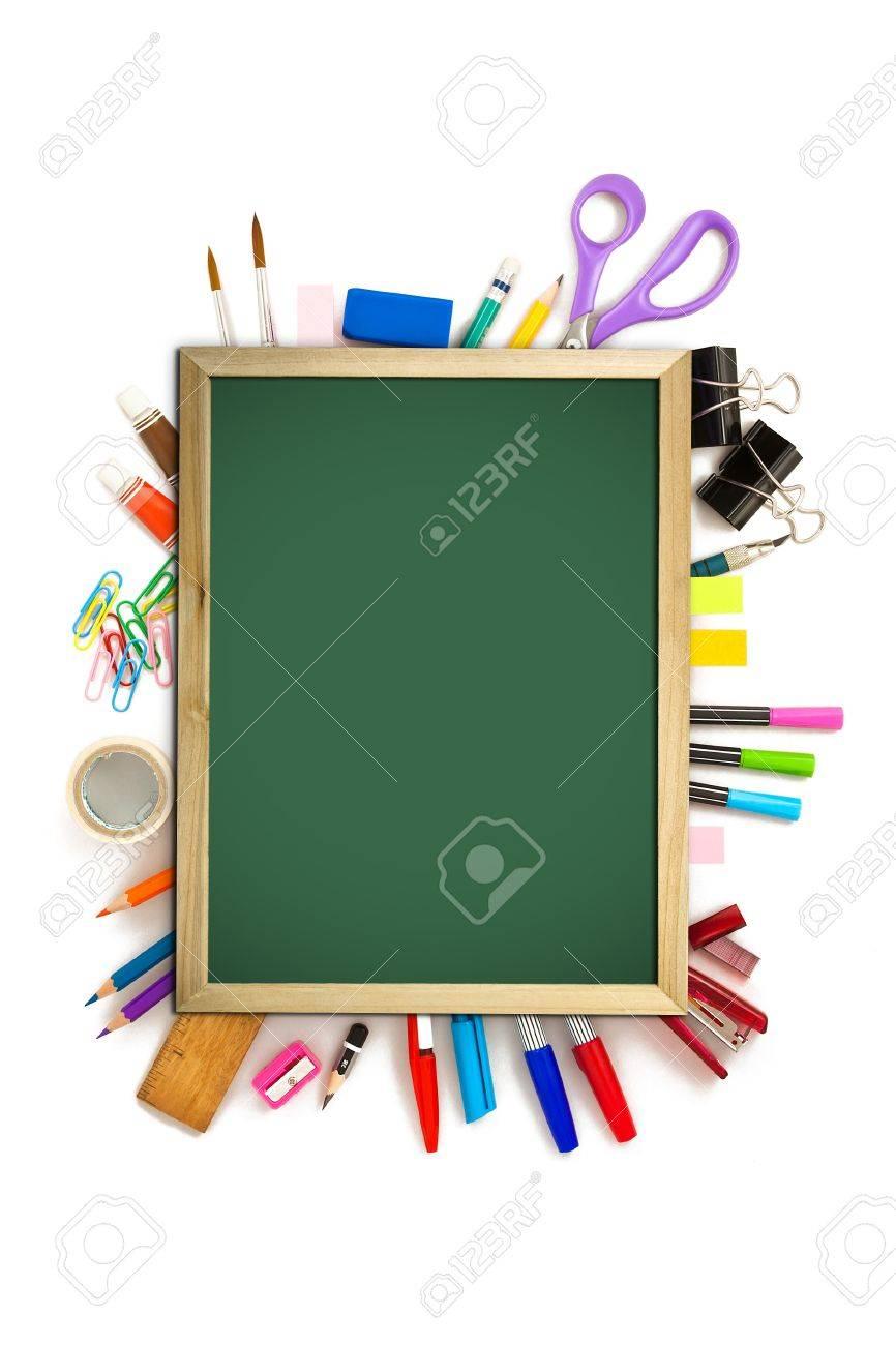 bureau et outil étudiant noir sur fond blanc Banque d'images - 12100765