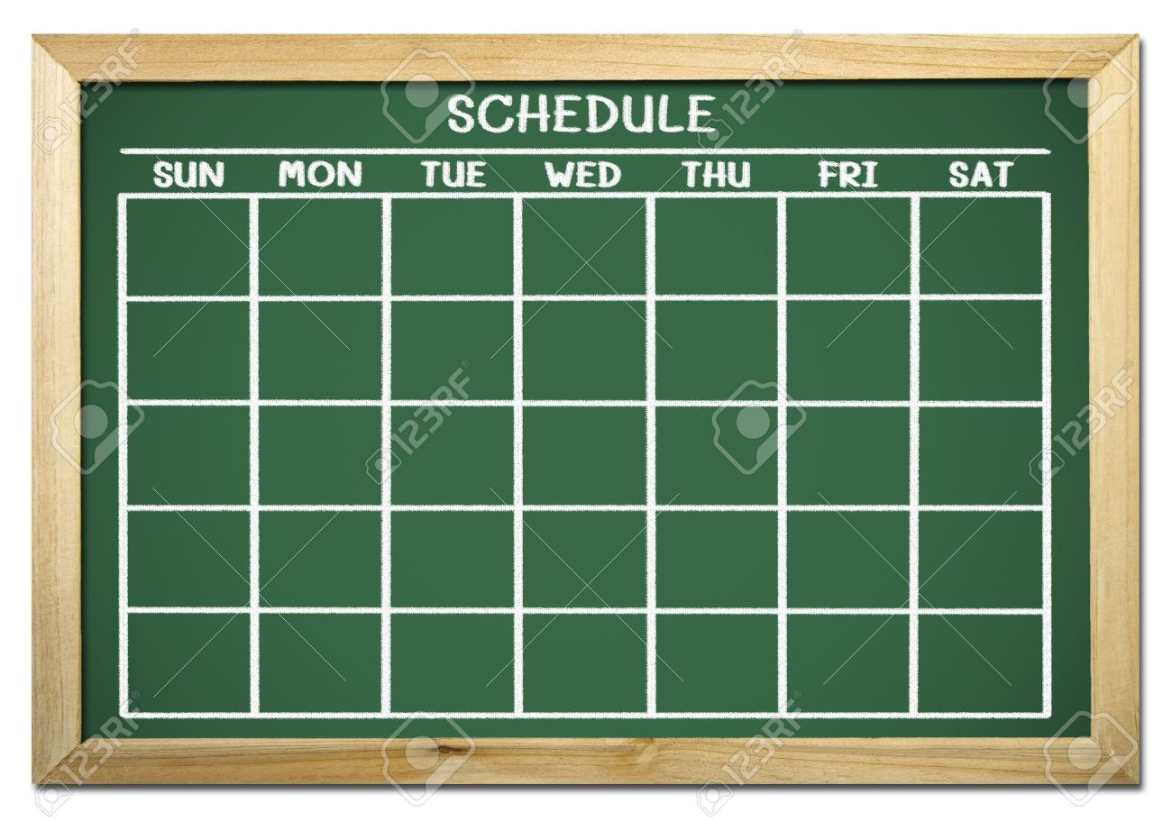 chalkboard with schedule and calendar Stock Photo - 12100767