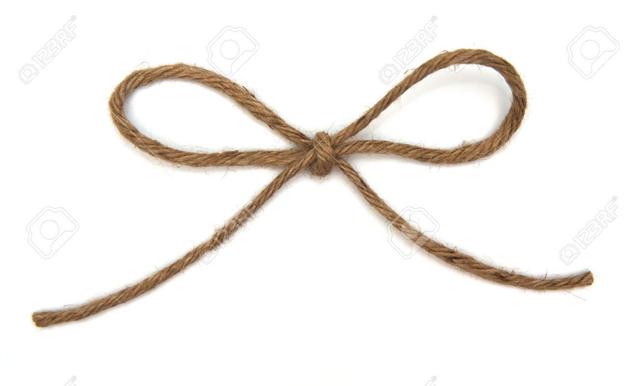 Ficelle attachée à un arc sur blanc Banque d'images - 12544388