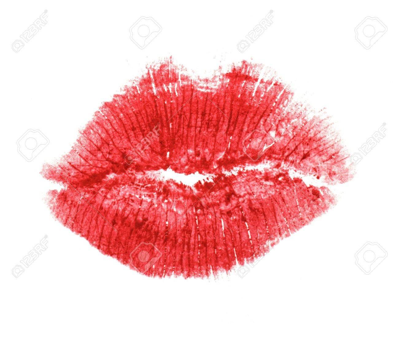Baiser de rouge à lèvres sur fond blanc Banque d'images - 15070644