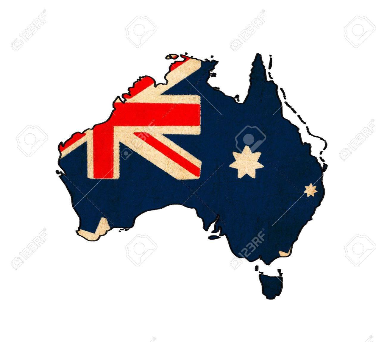 Carte Australie Drapeau.Carte De L Australie Sur Le Dessin Drapeau De L Australie Grunge Et Retro Flag Series
