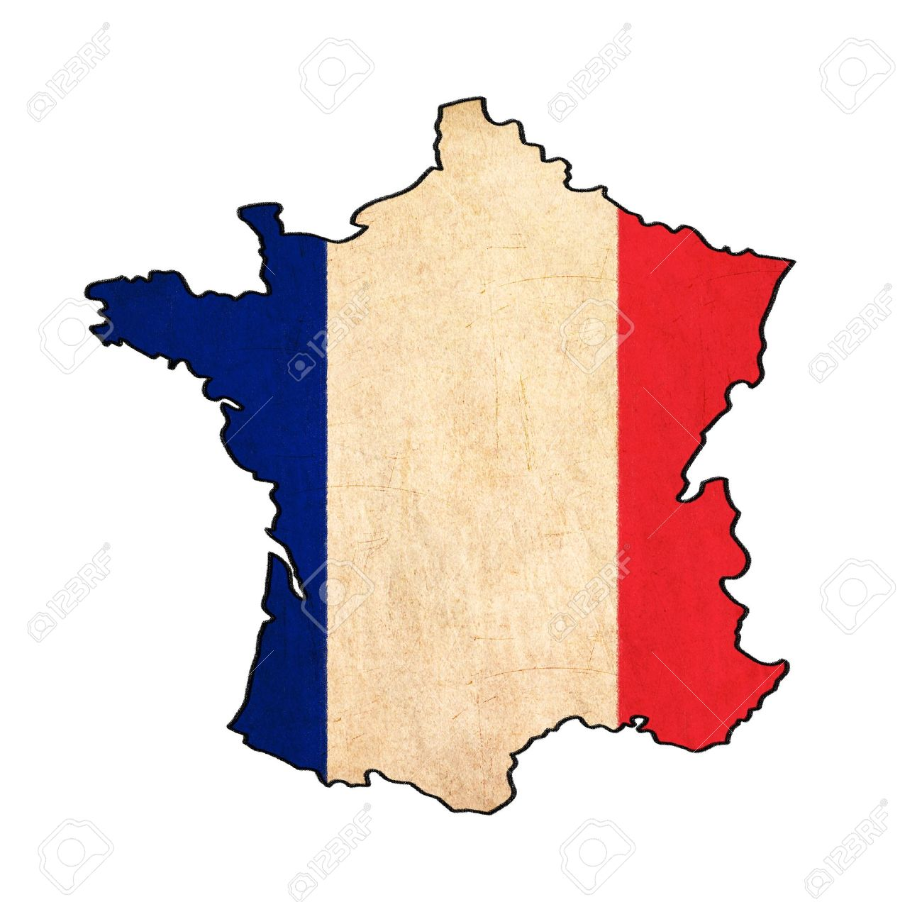 Map Of France Drawing.France Map On France Flag Drawing Grunge And Retro Flag Series