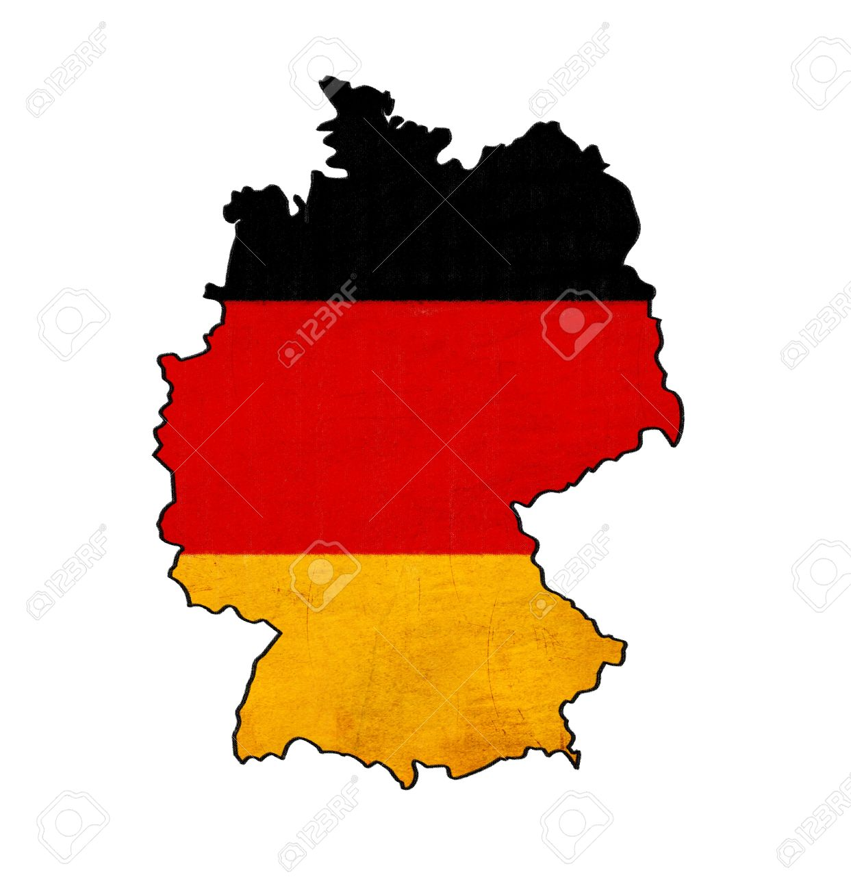 Germany map on Germany flag ...