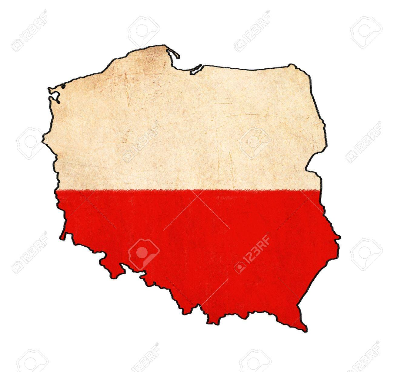 Poland Map On Poland Flag Drawing ,grunge And Retro Flag Series ...