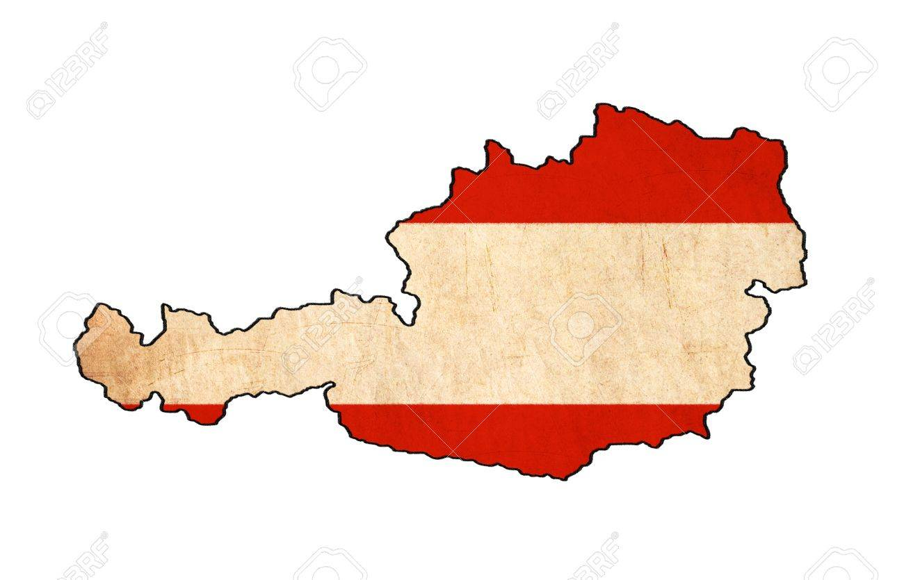 Austria Map On Austria Flag Drawing ,grunge And Retro Flag Series