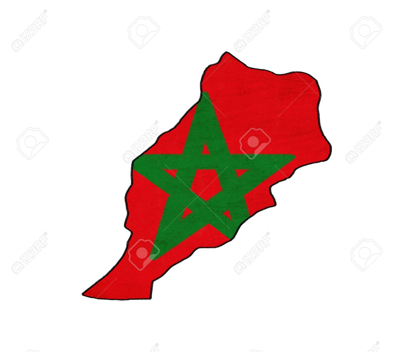Morocco map on Morocco flag drawing ,grunge and retro flag series Stock Photo - 15741978