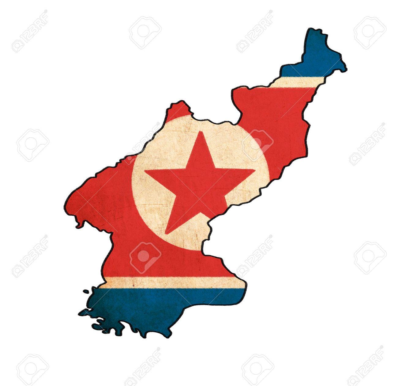 North Korea Map On North Korea Flag Drawing ,grunge And Retro ...