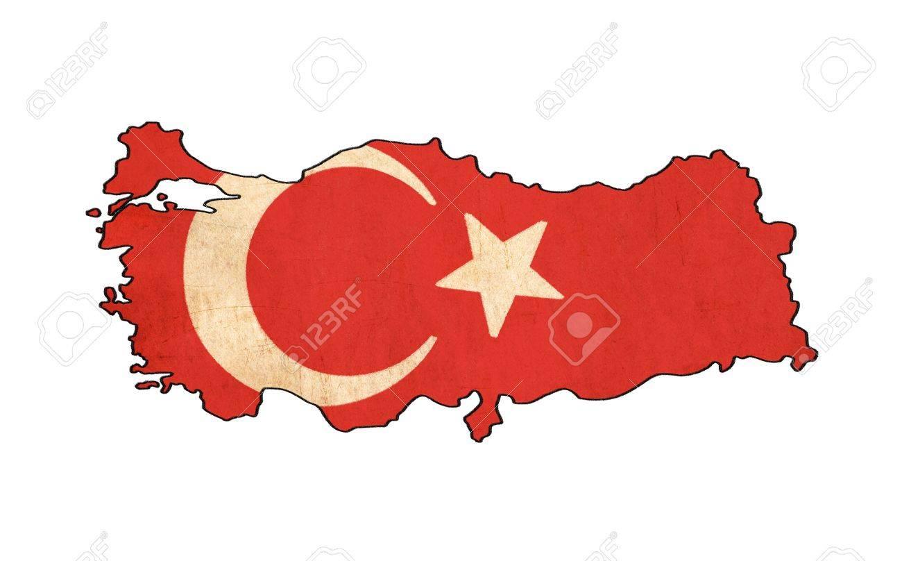 turkey map on turkey flag drawing grunge and retro flag series