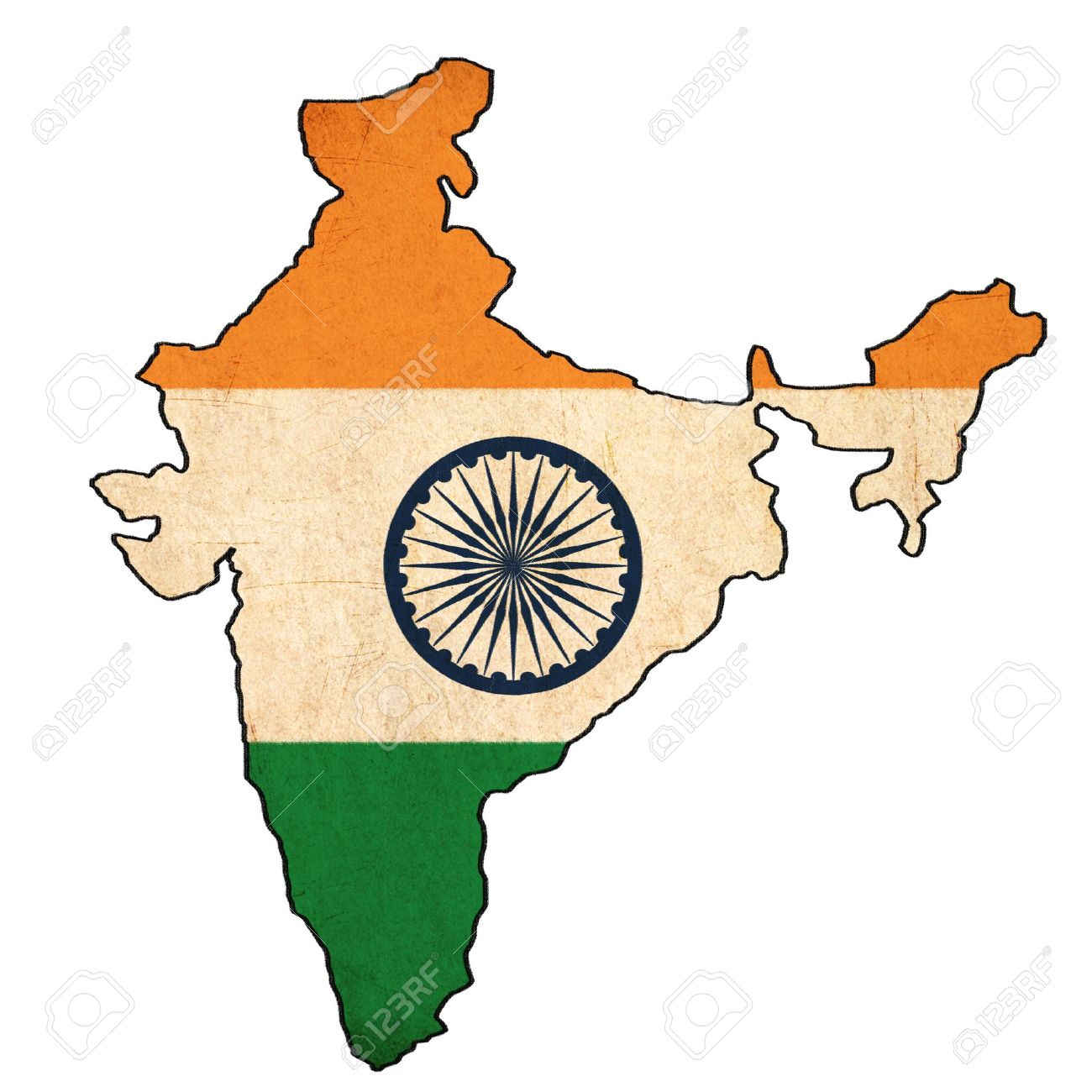 india map on india flag drawing grunge and retro flag series