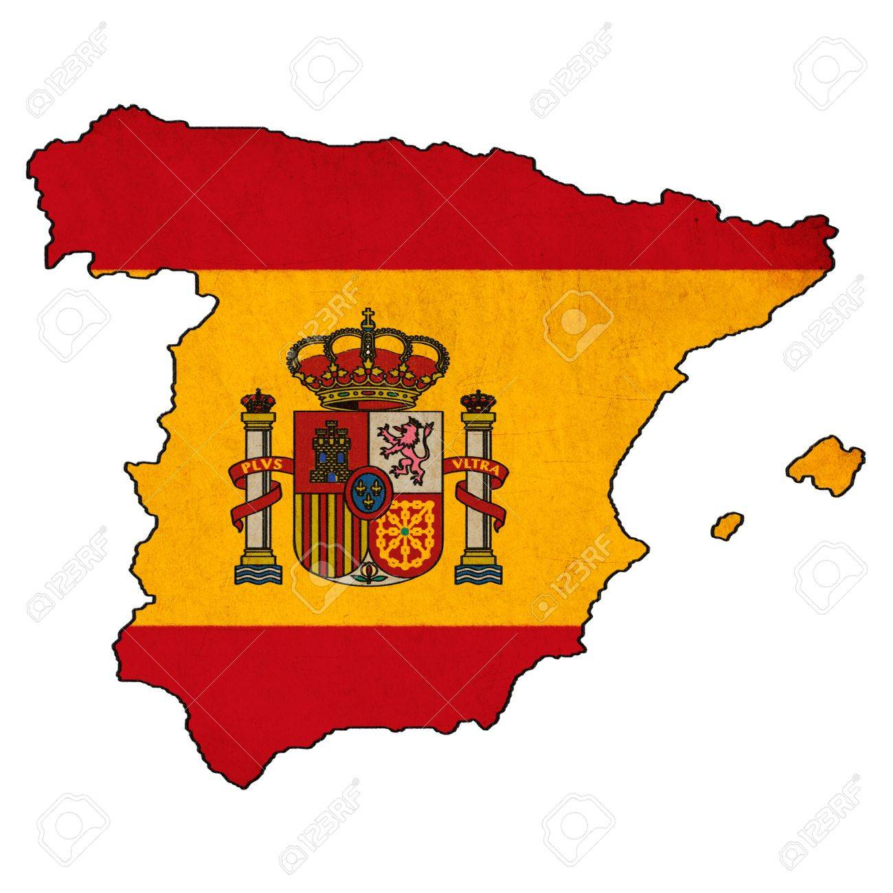 Map Of Spain Drawing.Spain Map On Spain Flag Drawing Grunge And Retro Flag Series Stock