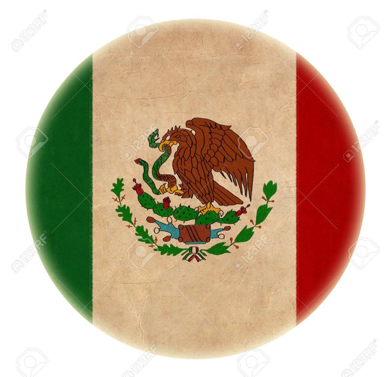 Grunge Bandera De México Dibujo Botón Fotos Retratos Imágenes Y