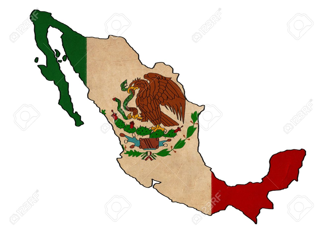 Mexico Map On Mexico Flag Drawing Grunge And Retro Flag Series