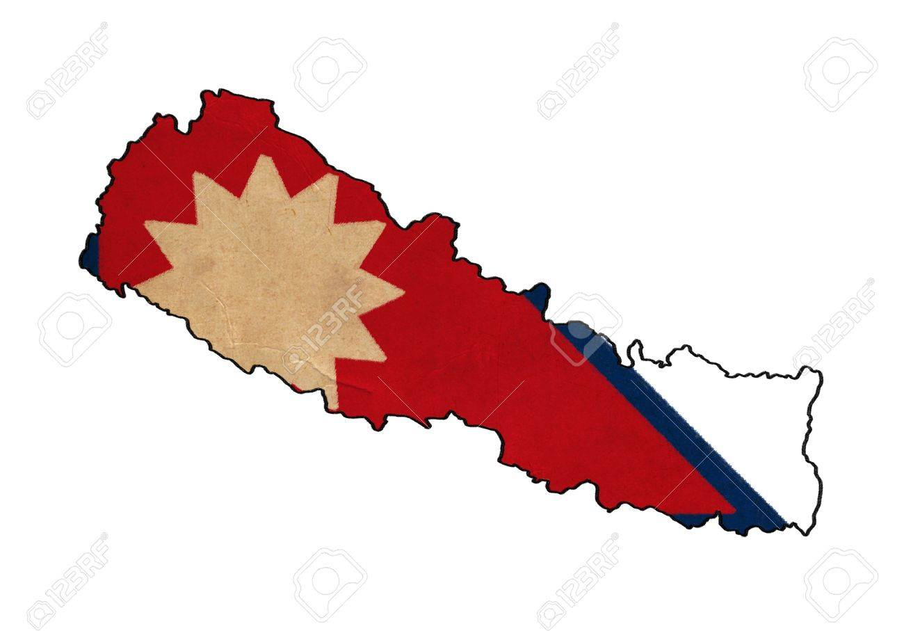 Nepal Map On Nepal Flag Drawing ,grunge And Retro Flag Series Stock ...