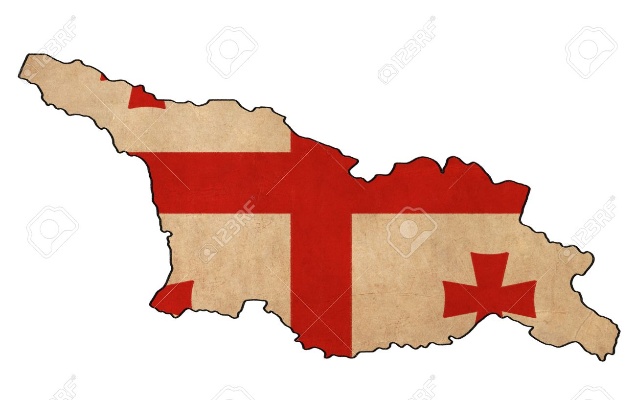 Georgia Map On Georgia Flag Drawing Grunge And Retro Flag Series - Georgia map drawing