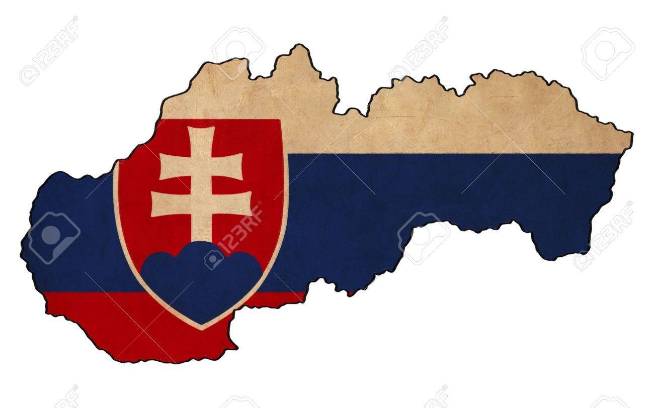 Slovakia Map On Slovakia Flag Drawing ,grunge And Retro Flag.. Stock ...