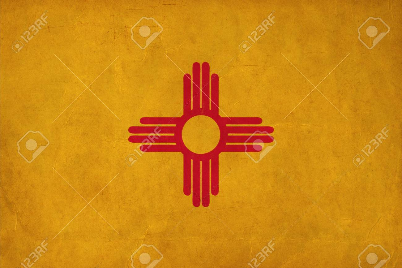 New Mexico Flag Drawing Grunge And Retro Flag Series Stock Photo