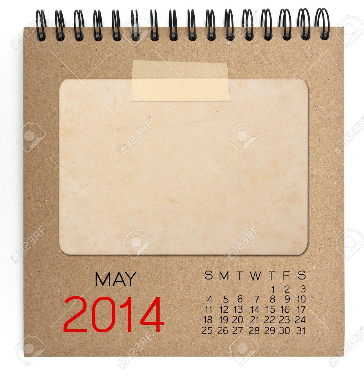 Calendrier 2014 cahier brun Banque d'images - 20822578