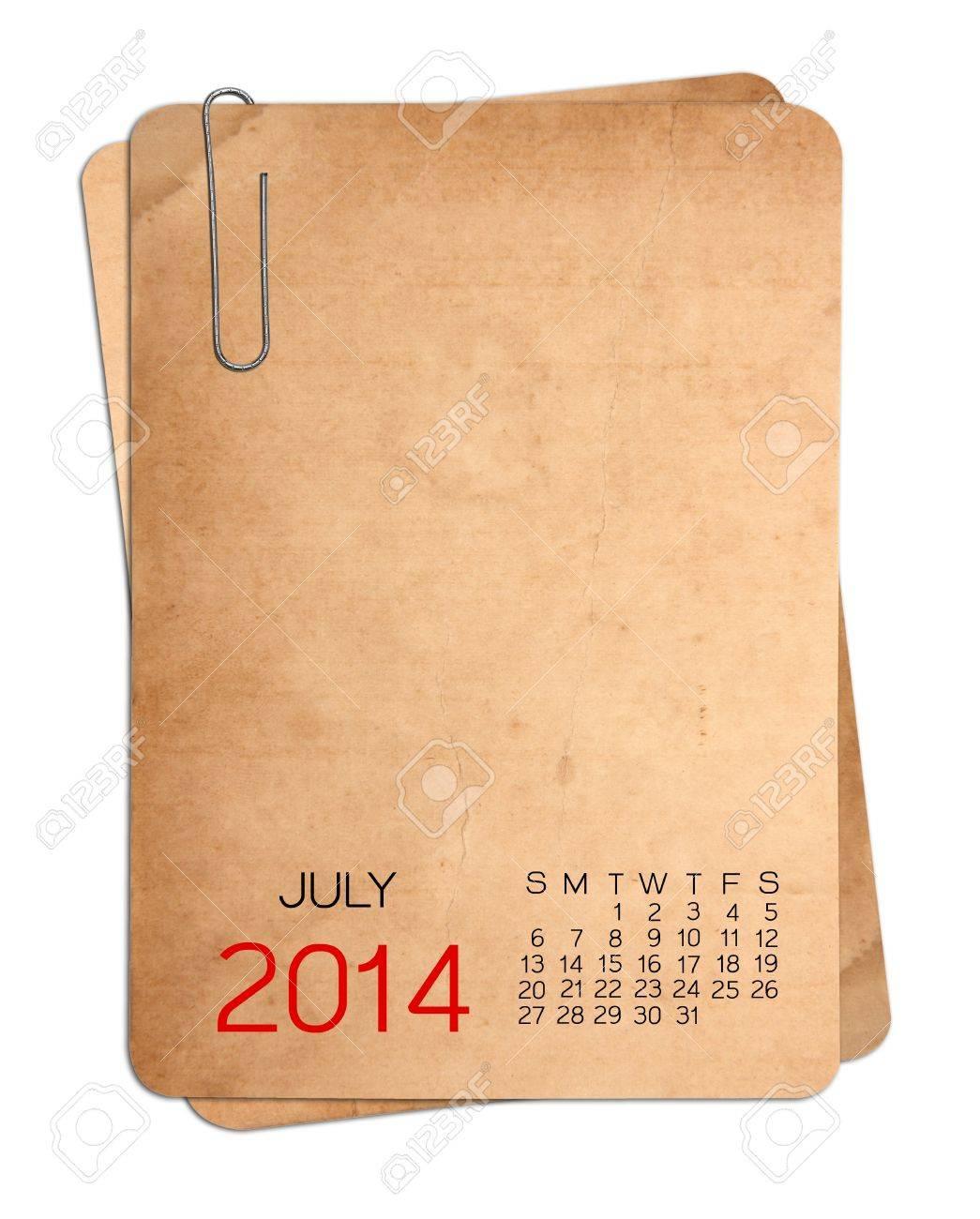 Calendario Julio 1976.Julio 2014 Calendario En La Foto Antigua Vacio Con El Clip De Papel