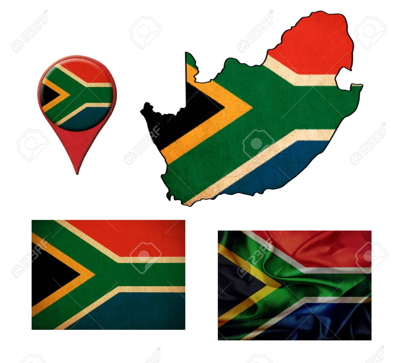 Flag Map Of Africa.South Africa Flag Map And Map Pointers Stock Photo Picture And
