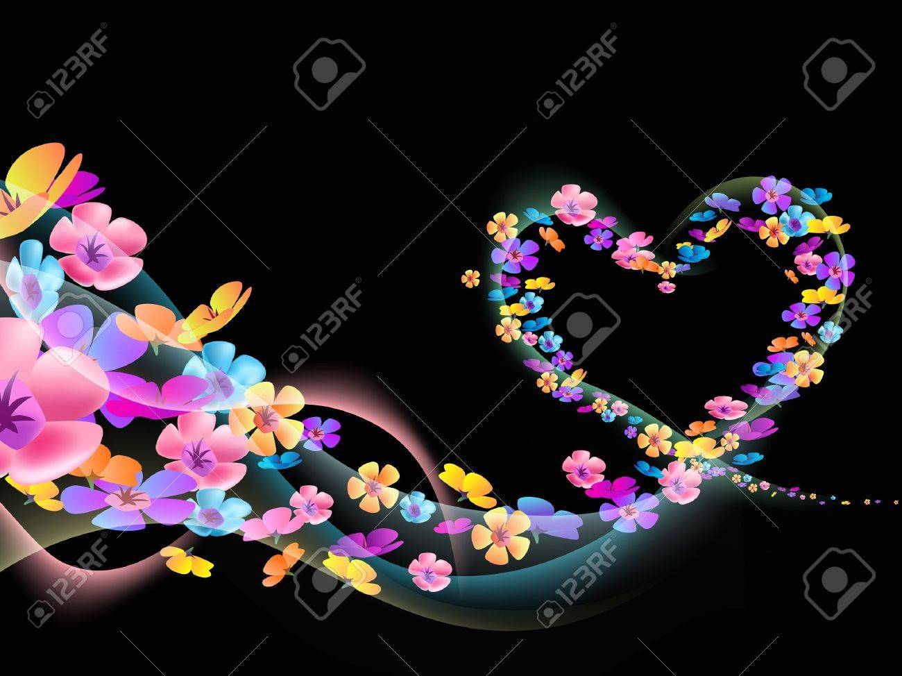 flowers flow together with heart Stock Photo - 17624048