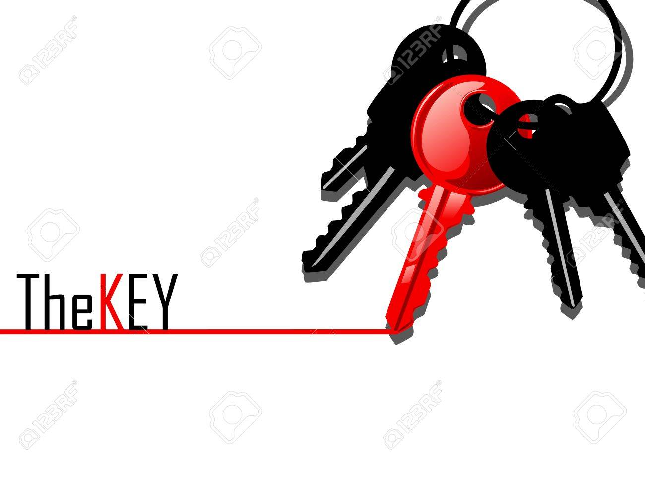red key with black keys lay together Stock Vector - 18086666
