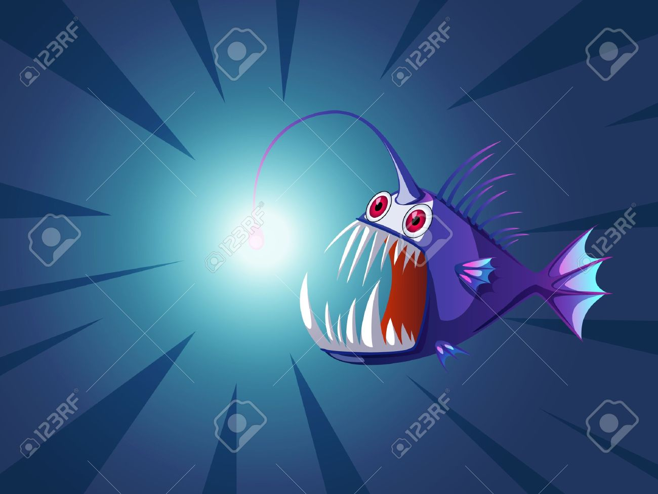 angler fish with light on head royalty free cliparts, vectors, and, Reel Combo