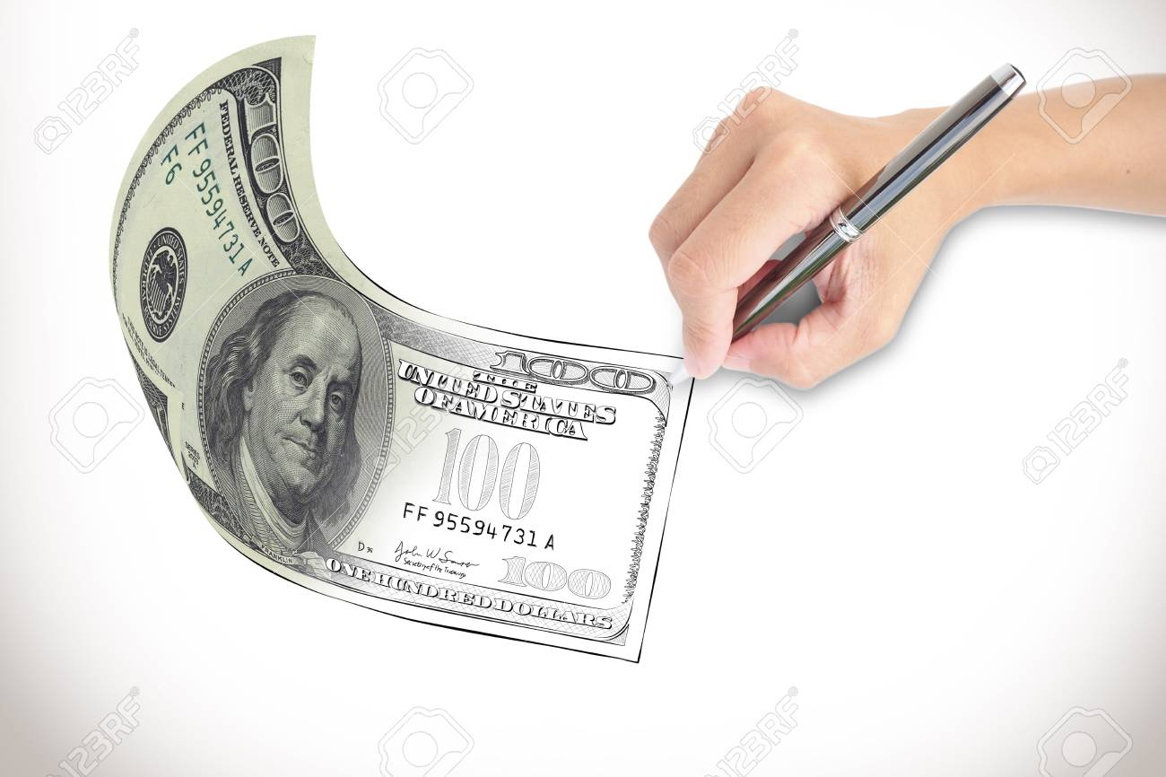 Dollar Bill Come Out From Drawing Made By Hand Stock P O 20879416