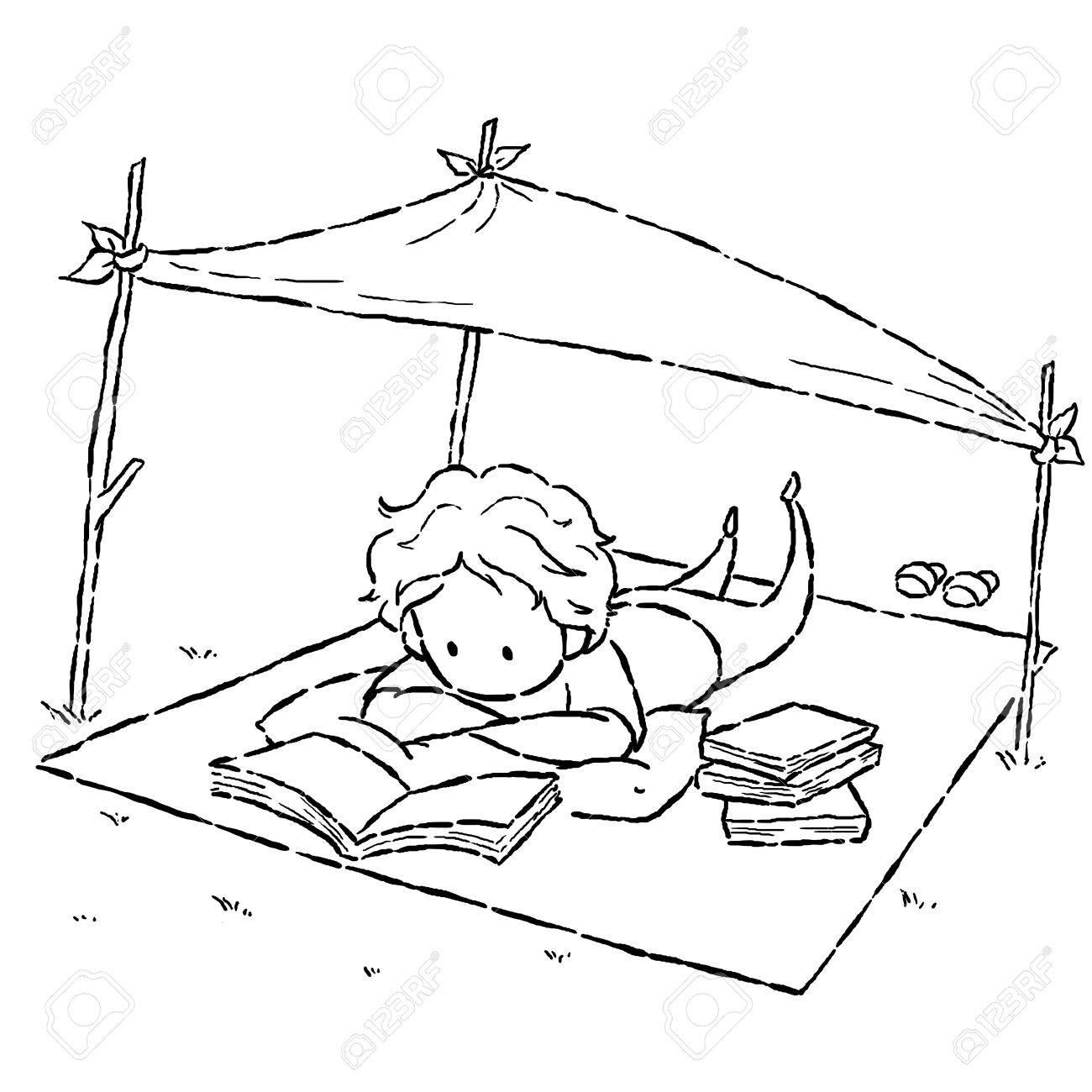 Dessin D Un Livre style de bande dessinée dessin d'image de gosse lecture du livre