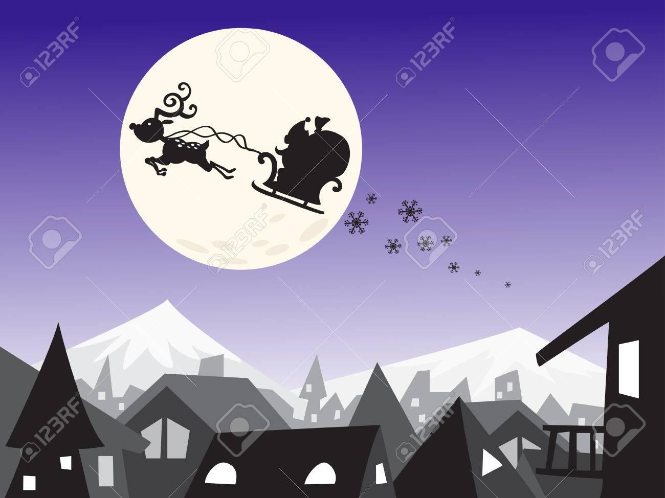 メリー クリスマス市シーン景観の背景 シルエット グラフィック壁紙 の写真素材 画像素材 Image