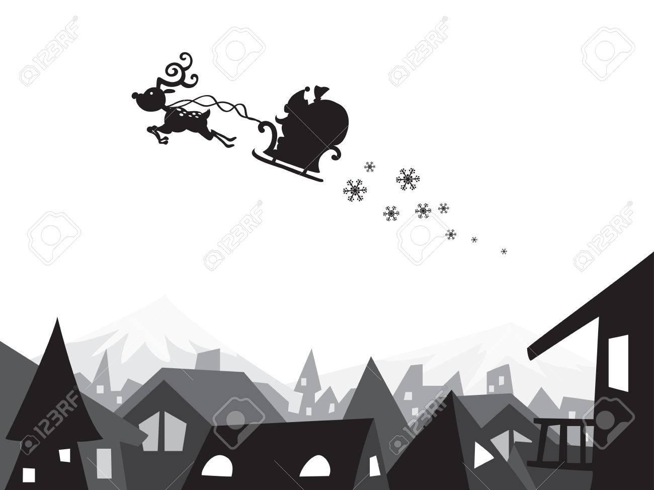 Buon Natale Freestyle Testo.Buon Natale Citta Scena Paesaggio Fondo Silhouette Carta Da Parati Grafica