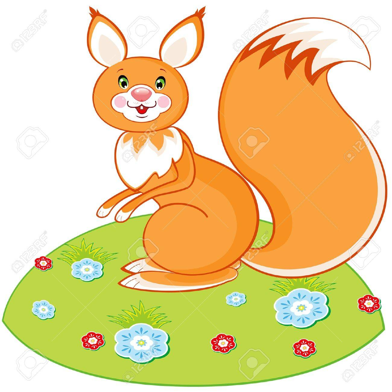 Vector red squirrel toy on a green glade with a flowers Stock Vector - 9918761