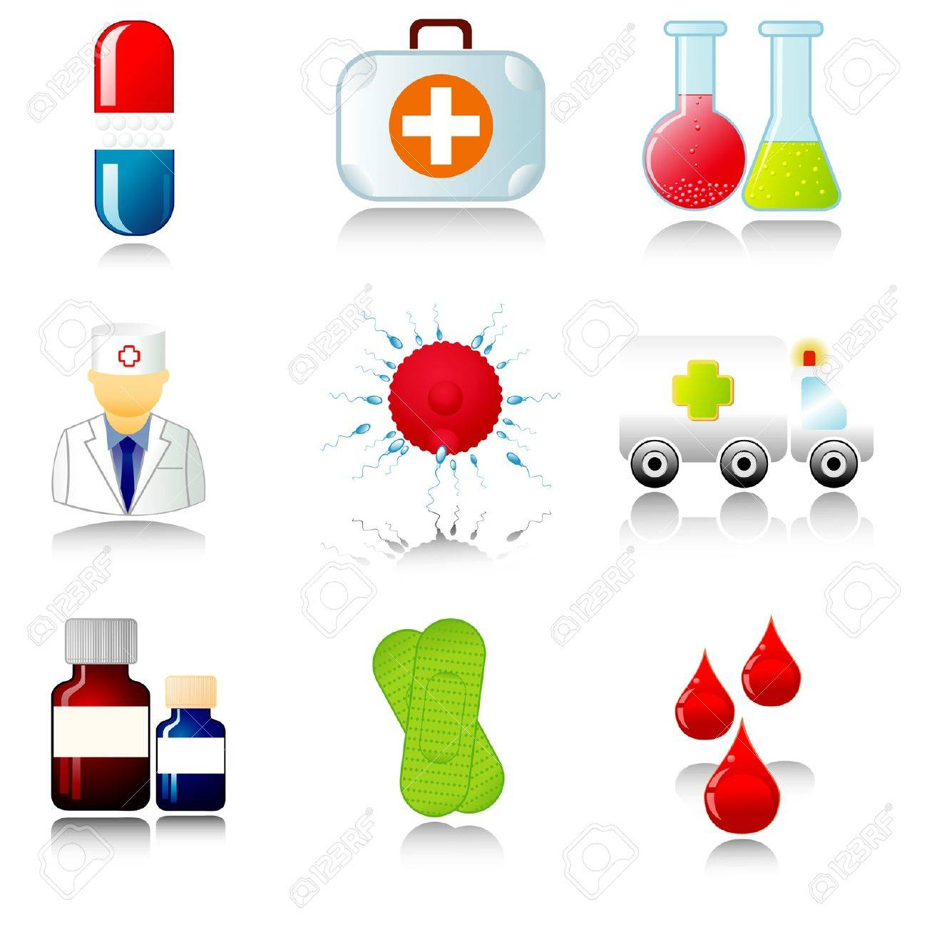 Set of medical icons. Vector illustration. Stock Vector - 9918763