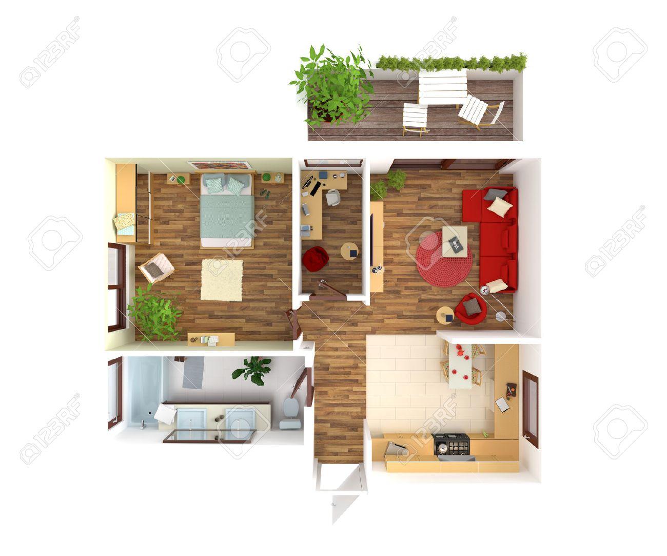 Planvy av en lägenhet: kök, matsal, vardagsrum, sovrum, hall ...