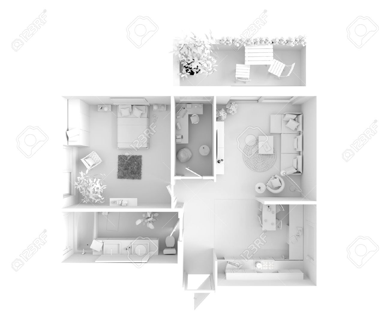 Plan View Of An Apartment Kitchen Dining Living Bedroom Hall