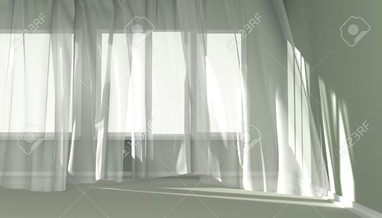 Superb Empty Room With Sunlight Shining Through A Window And The Curtains  Developed By A Wind Stock