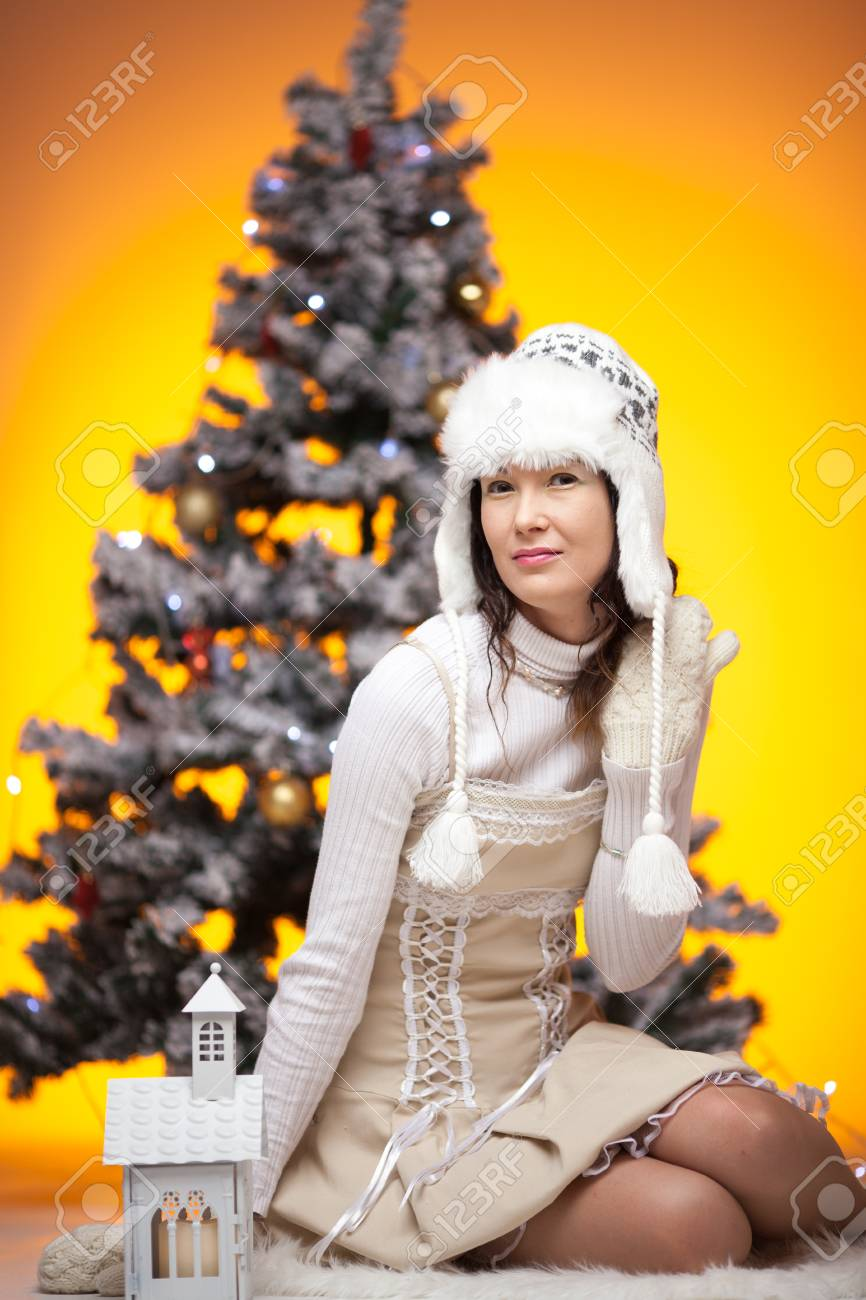 Beautiful Japanese Girl With Gifts In Decorated Christmas Tree ...