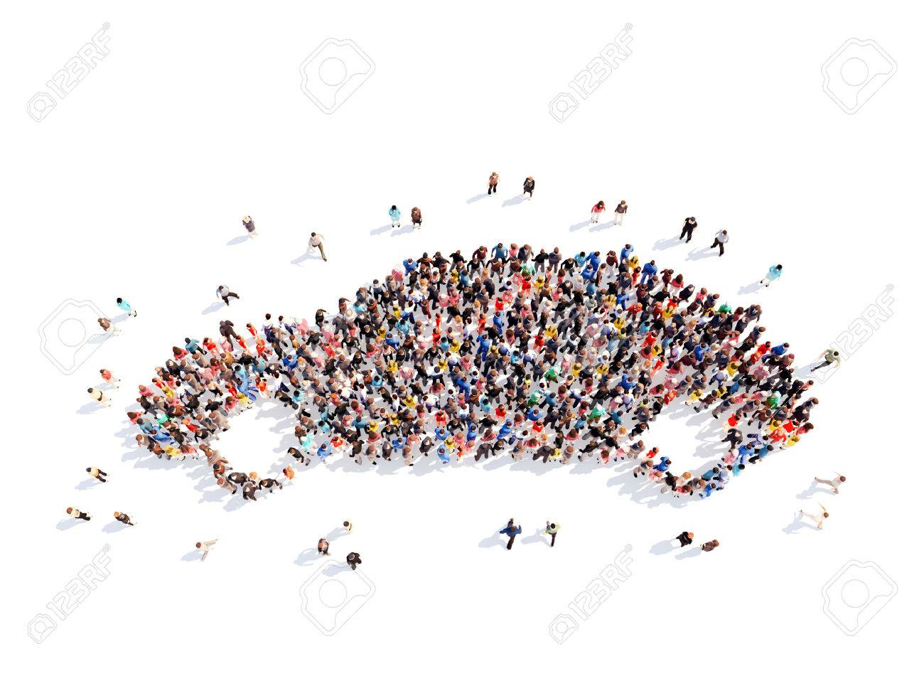 Large group of people in the form of a car. Isolated, white background. - 39052269